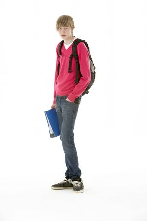boy 15 year old: Full Length Studio Portrait Of Male Teenage Student