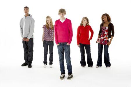 fifteen year old: Full Length Studio Portrait Of Five Teenage Friends