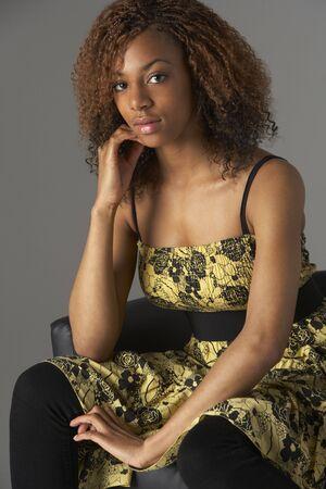 fifteen year old: Studio Portrait Of Fashionably Dressed Teenage Girl