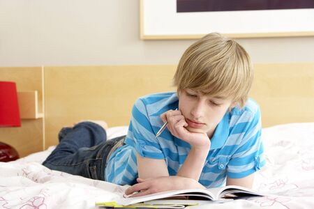 boy 15 year old: Teenage Boy Writing In Diary In Bedroom