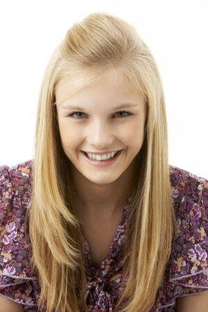 blonde close up: Studio Portrait Of Teenage Girl Stock Photo