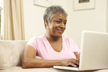 silver surfer: Senior Woman Using Laptop At Home