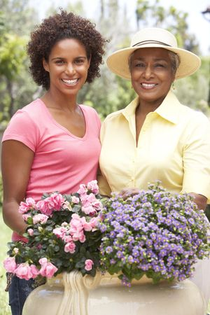 Senior Woman With Adult Daughter Gardening Together Stock Photo - 6143009