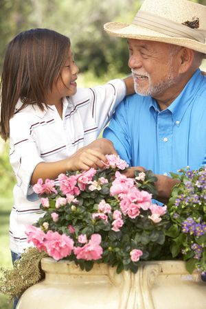 6 year old: Grandfather And Granddaughter Gardening Together