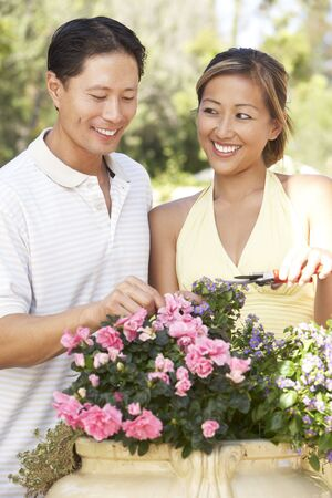 Young Couple Working In Garden Stock Photo - 6128154