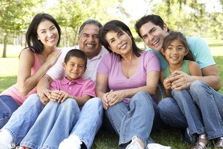 Retrato de grupo de la familia de extendido en el Parque  Foto de archivo - 28232254