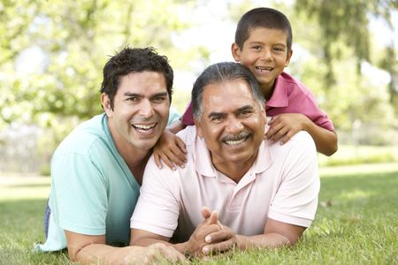 grandfathers: Grandfather With Son And Grandson In Park Stock Photo
