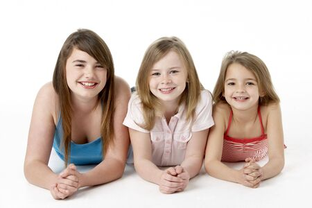 7 year old girl: Three Girls Piled Up In Pyramid In Studio