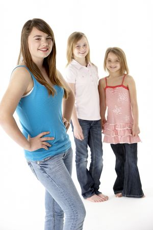 7 year old girl: Group Of Girls Together In Studio