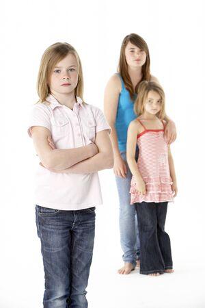 Grupa Of Girls Together In Studio spojrzenie Unhappy