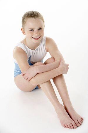 leotard: Studio-Portrait Of Young weibliche Gymnast Lizenzfreie Bilder