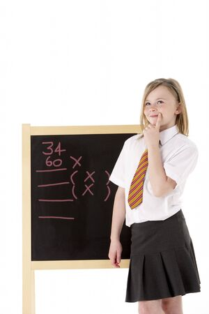 Thoughtful Female Student Wearing Uniform Next To Blackboard Stock Photo - 6454233