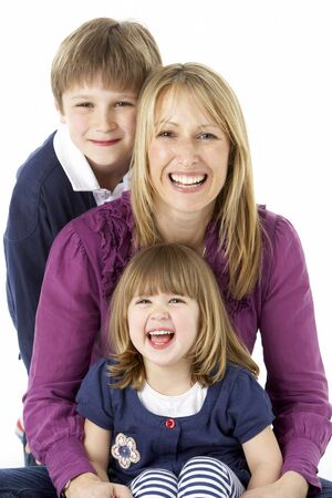 Mother With 2 Young Children In Studio Stock Photo - 6453647