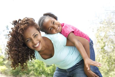 Portrait of Happy Mother and Daughter In Park Stock Photo - 6456441