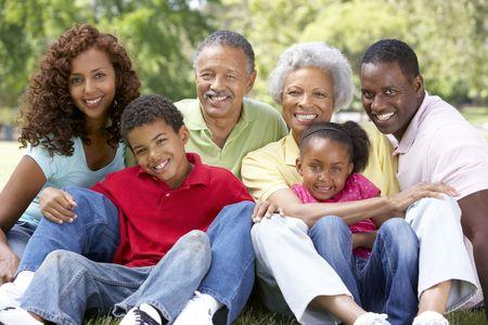 familia en jardin: Retrato de grupo de la familia de extendido en el Parque  Foto de archivo