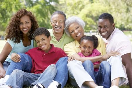 famille africaine: Portrait de groupe de la famille �largie au parc Banque d'images