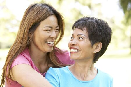 Senior Woman With Adult Daughter In Park Stock Photo - 6456187