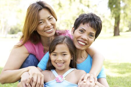 filipino: Grandmother With Daughter And Granddaughter In Park