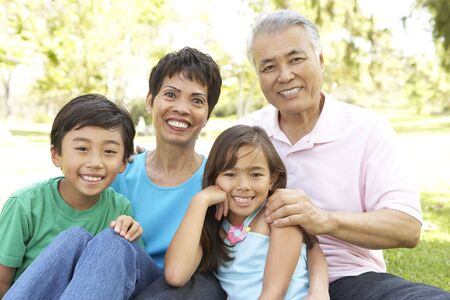 grandfather and grandmother: Portrait Of Grandparents With Grandchildren In Park Stock Photo