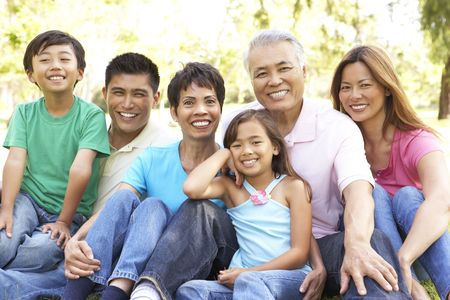 filipino: Portrait Of Extended Family Group In Park