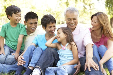 Portrait de groupe de la famille élargie au parc