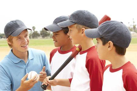 ballplayer: Young Boys In Baseball Team With Coach