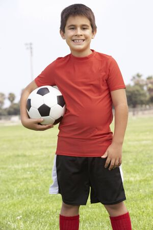 9 ball: Young Boy In Football Team Stock Photo