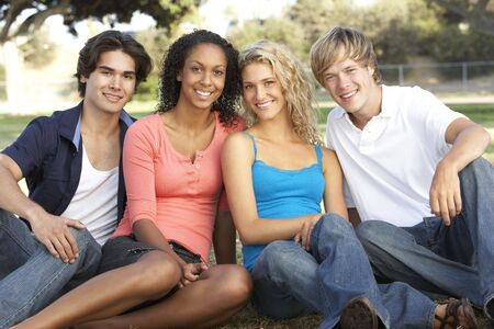 Group Of Teenagers Sitting In Playground Stock Photo - 6451738