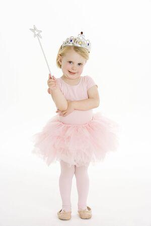 ballet ni�as: Little Girl vestida como Fairy Foto de archivo