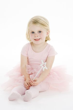 Little Ballerina Sitting On Floor photo
