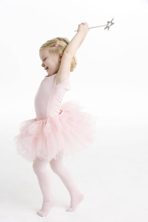 dressing up costume: Little Ballerina Dancing Stock Photo