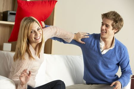 Young Couple Having Play Fight On Sofa Stock Photo - 6452916