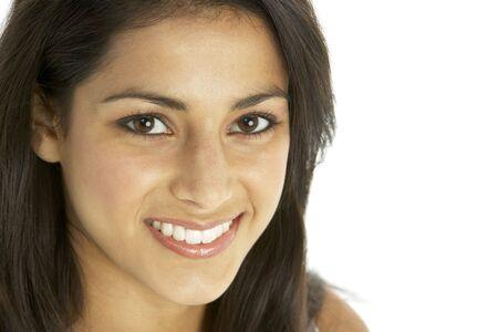 primer plano cara: Retrato de sonriente joven  Foto de archivo