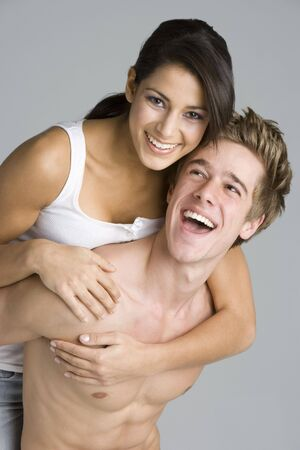 bare chest: Portrait Of Sexy Young Couple Stock Photo