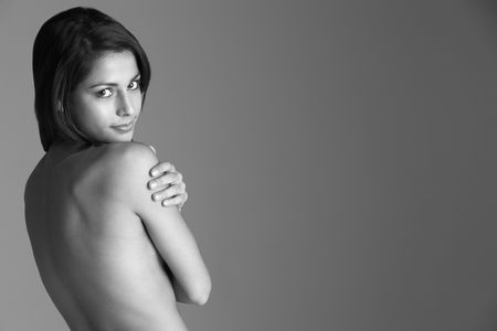 Back View Of Naked Young Woman photo
