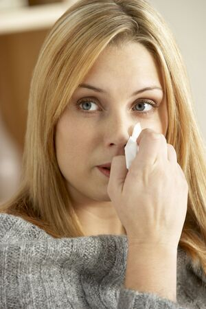 Young Woman With Cold Blowing Nose Stock Photo - 6451934