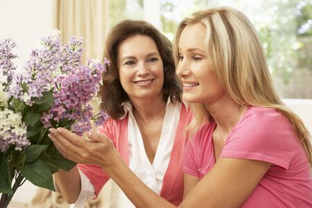 tending: Senior Woman And Daughter At Home Arranging Flowers Stock Photo