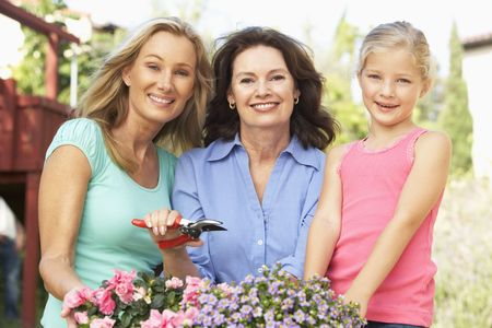 Senior Woman With Adult Daughter And Granddaughter Gardening Together Stock Photo - 6452366