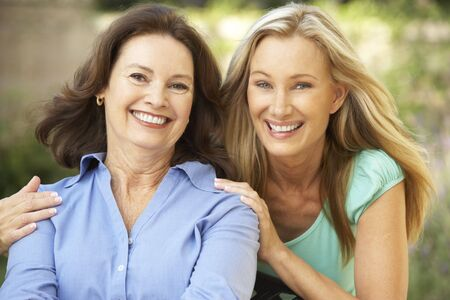 three generation: Senior Woman With Adult Daughter Stock Photo
