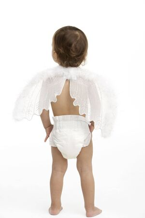 Back View Of Toddler Wearing Nappy And Angel Wings photo
