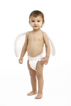nappy: Studio Portrait Of Toddler Wearing Nappy And Angel Wings Stock Photo