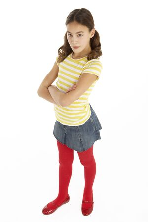 11 year old girl: Studio Portrait Of Defiant Young Girl