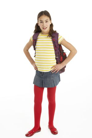 11 year old girl: Studio Portrait Of Young Girl With Backpack