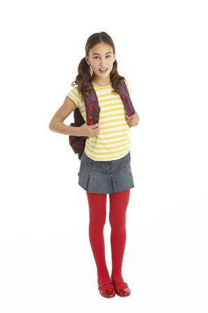 Studio Portrait Of Young Girl With Backpack Stock Photo - 6456649