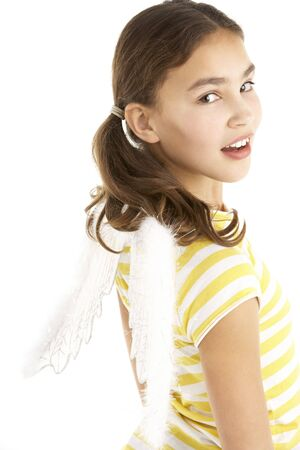11 year old girl: Young Girl Wearing Angel Wings Stock Photo