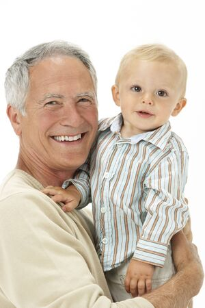 sons and grandsons: Studio Portrait Of Grandfather Holding Grandson