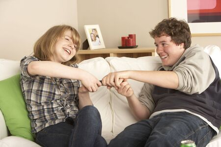 Teenage Couple Arguing Over TV Remote Stock Photo - 6451229
