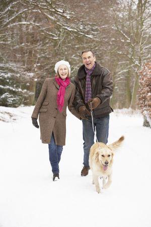 Senior Couple Walking Dog Through Snowy Woodland photo