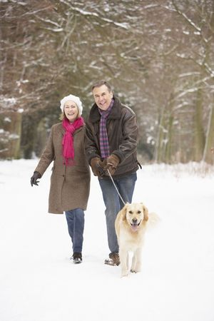 Senior Couple Walking Dog Through Snowy Woodland photo