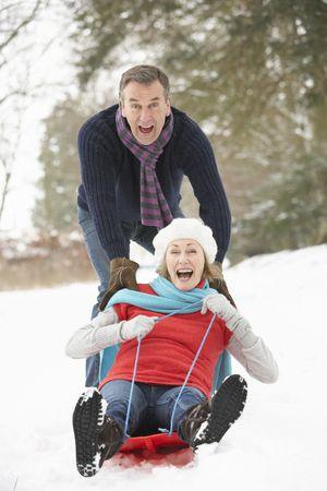 Wyżsi para Sledging przez Snowy Woodland Zdjęcie Seryjne